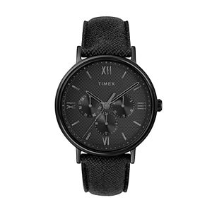 Timex Southview Men's Black Leather Watch