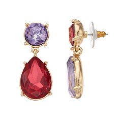 inspire NEW YORK Simulated Crystal Nickel Free Double Drop Earrings