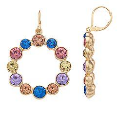 inspire NEW YORK Simulated Crystal Nickel Free Hoop Earrings
