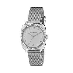 Laura Ashley Women's Crystal Accent Mesh Band Watch