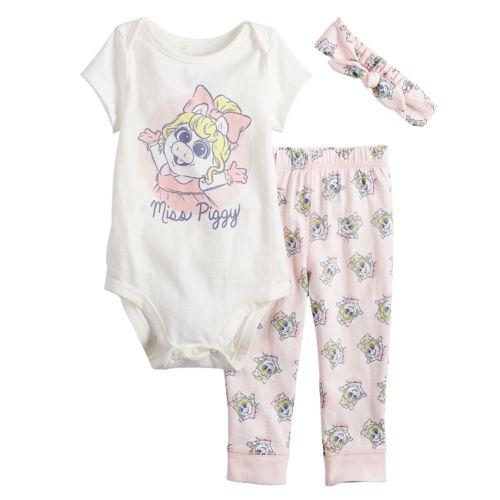 Disney's The Muppets Miss Piggy Baby Girl Graphic Bodysuit, Print Pants &Amp; Headband Set By Jumping Beans® by Disney's The Muppets Miss Piggy Baby Girl Graphic Bodysuit, Print Pants &Amp; Headband Set By Jumping Beans