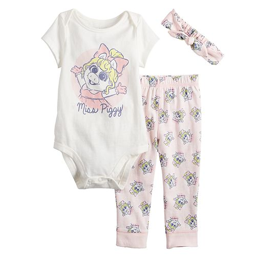 Disney's The Muppets Miss Piggy Baby Girl Graphic Bodysuit, Print Pants & Headband Set by Jumping Beans®