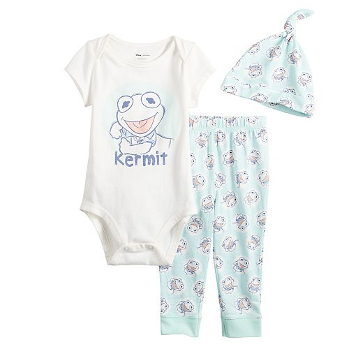 Disney's The Muppets Kermit Baby Boy Graphic Bodysuit, Print Pants & Hat Set by Jumping Beans®