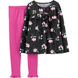 Girls 4-8 Carter's 2-Piece Floral Jersey Top & Legging Set