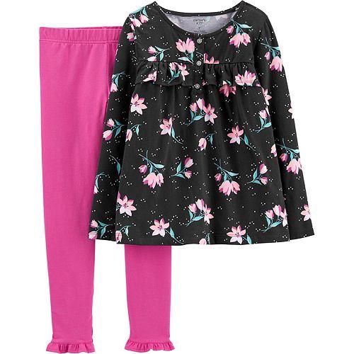 Girls 4-8 Carter's 2-Piece Floral Jersey Top & Legging Set
