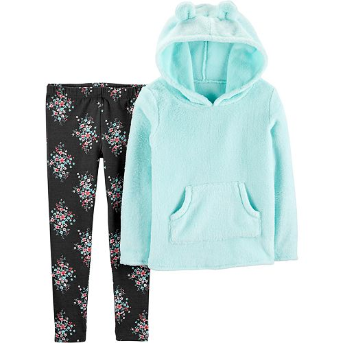 Girls 4-8 Carter's Fuzzy Hooded Top & Floral Legging Set
