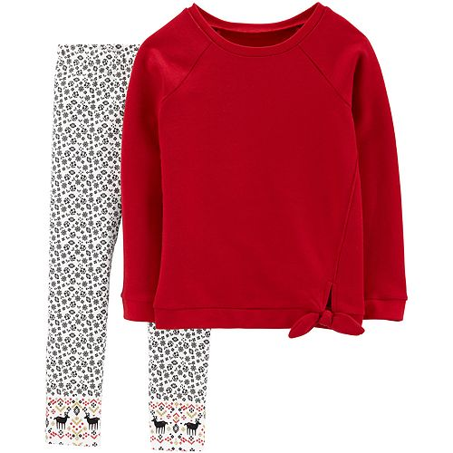 Girls 4-8 Carter's Fleece Top & Floral Legging Set