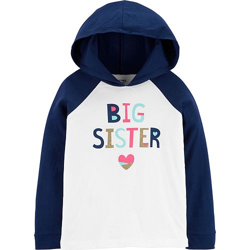 Girls 4-12 Carter's Glitter Big Sister Hooded Tee