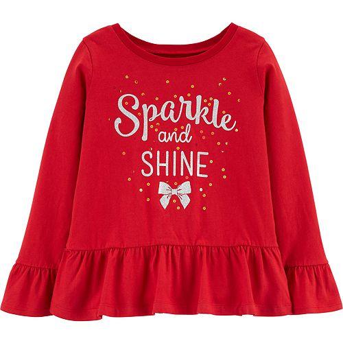 "Girls 4-12 Carter's ""Sparkle & Shine"" Peplum Top"