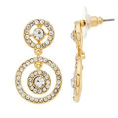 Napier Simulated Crystal Double Orbital Hoop Drop Earrings
