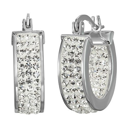 Chrystina Crystal Huggie Hoop Earrings