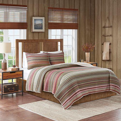 Woolrich Willard Oversized Stripe Print Cotton Quilt Set