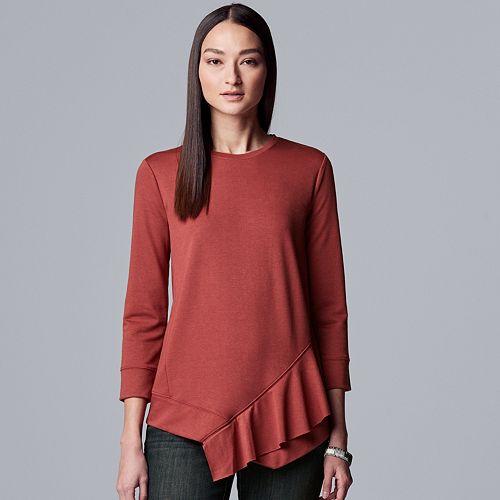 Women's Simply Vera Vera Wang Asymmetrical Ruffle Sweatshirt