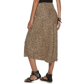 NEW! Juniors' Love, Fire Leopard Print Midi Skirt
