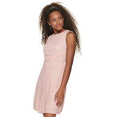 Juniors' Rewind Striped Ponte Skater Dress