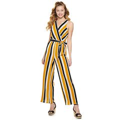 Juniors' Almost Famous Striped Wrap Jumpsuit