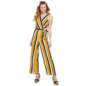 Juniors' Almost Famous Striped Wrap Jumpsuit