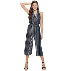 Juniors' Almost Famous Halter Wrap Jumpsuit