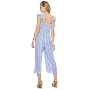 Juniors' Candie's® Button Front Flutter Sleeve Cropped Jumpsuit