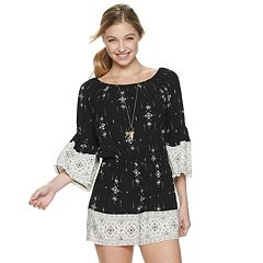 NEW! Juniors' Mudd® Bell Sleeve Romper