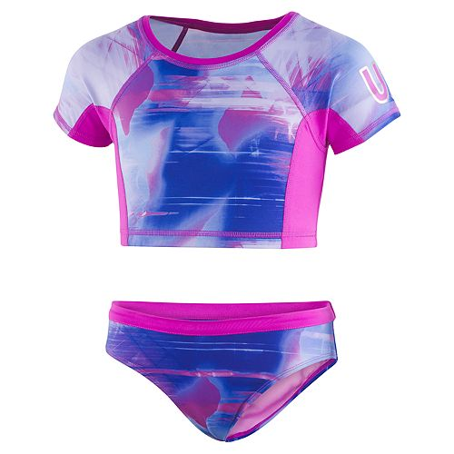 Girls 7-16 Under Armour Electo Galaxy Crop Rashguard Top & Bottoms Swimsuit Set