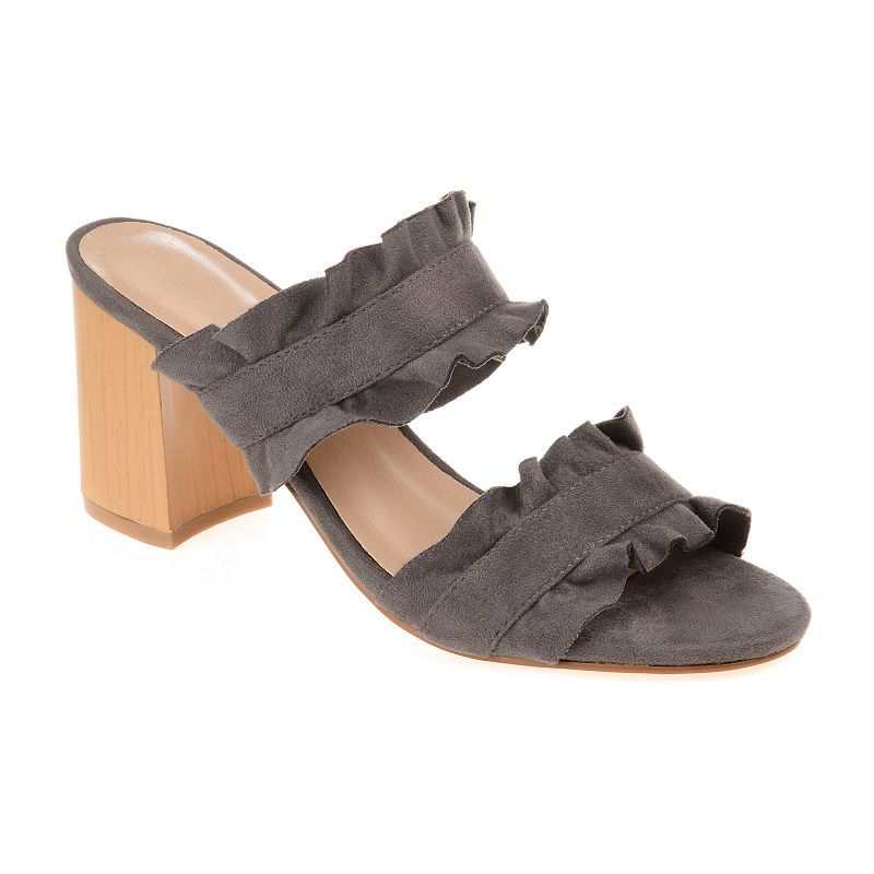 Refresh your warm-weather wardrobe with these Journee Collection Channing sandals. SANDAL FEATURES Ruffle accents Block heel Durable traction sole SANDAL CONSTRUCTION Faux suede upper Polyurethane lining Manmade, rubber outsole SANDAL DETAILS Open toe Slip-on Padded footbed 2.75-in. heel 0.5-in. platform Size: 12. Color: Grey. Gender: female. Age Group: adult. Material: Synthetic.