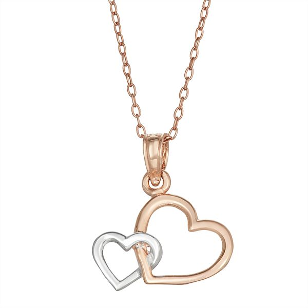 Charming Girl Two Tone 14k White Gold Rose Gold Heart Pendant Necklace