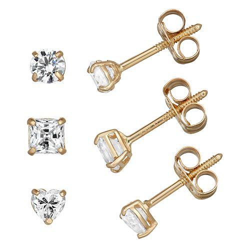 Charming Girl 14k Gold Crystal Stud Earring Set