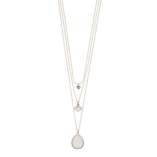 LC Lauren Conrad Mother-of-Pearl Layered Pendant Necklace