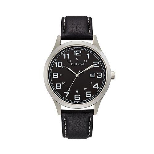 Bulova Men's Classic Black Leather Strap Watch - 96B276