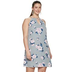 Juniors' Candie's® Plus Size Floral Print Pleated Halter Swing Dress