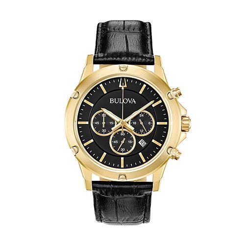 Bulova Men's Leather Chronograph Watch - 97B179