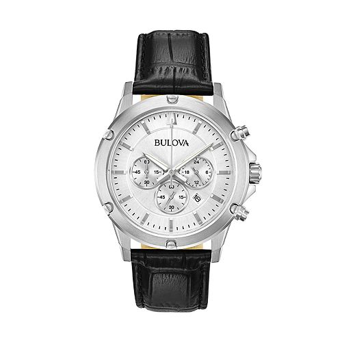 Bulova Men's Leather Chronograph Watch - 96B297
