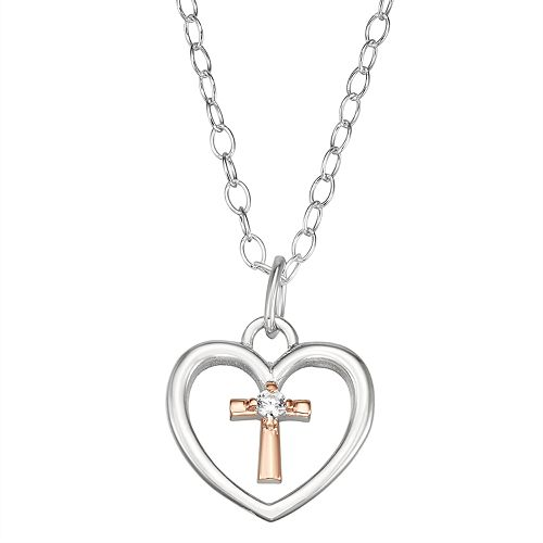 Charming Girl Two-Tone Sterling Silver Heart & Cross Pendant Necklace