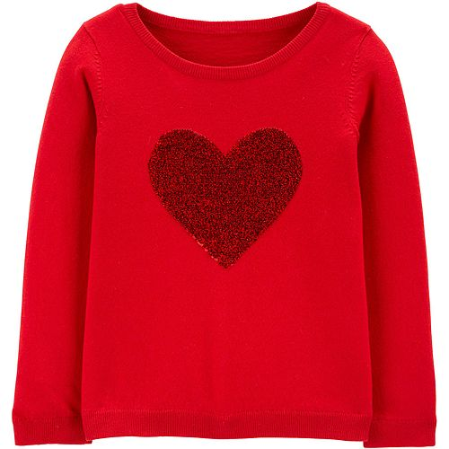 Girls 4-12 Carter's Flip-Sequin Heart Sweater