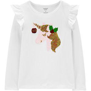 Girls 4-12 Carter's Flip-Sequin Holiday Unicorn Tee