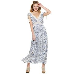 Juniors' American Rag Cinched Shoulder Pom Pom Detail Maxi Dress