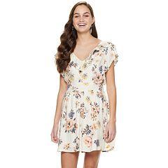 NEW! Juniors' American Rag Ruffled V-Neck Dress