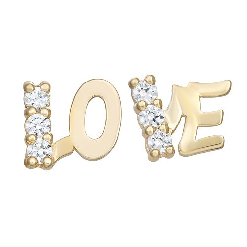 "Charming Girl 14K Gold Cubic Zicronia ""Love"" Stud Earrings"