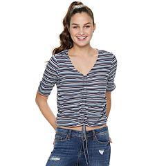Juniors' American Rag Striped V-Neck Top