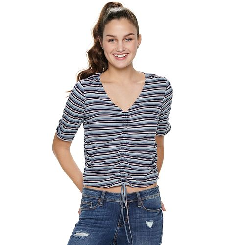 Juniors' American Rag Striped V-Neck Top