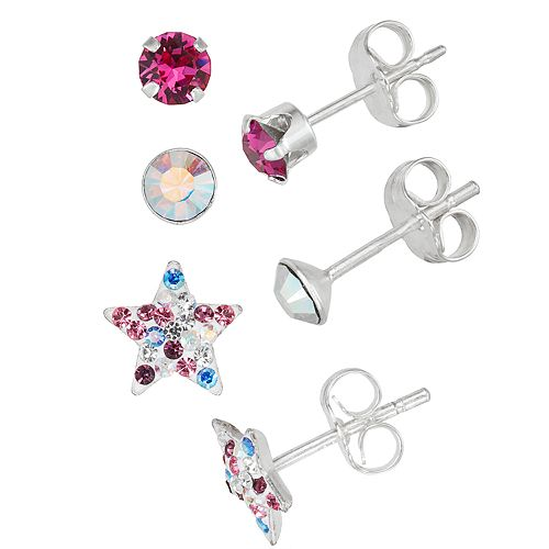 Charming Girl Multi-Color Star Crystal Stud Earring Set