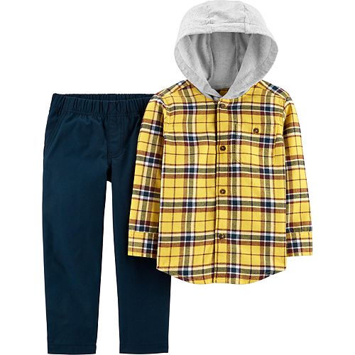Toddler Boy Carter's 2-Piece Button-Front Flannel Hooded Top & Canvas Pant Set