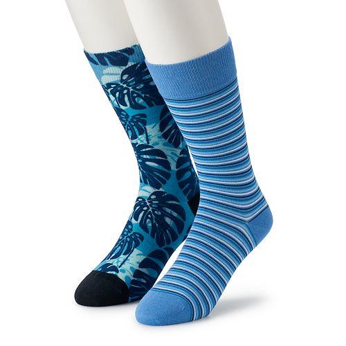 Men's Marc Anthony 2-Pack Leaf Print Crew Socks
