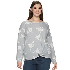 Juniors' Plus Size Candie's® Floral Print Twist Front Sweatshirt