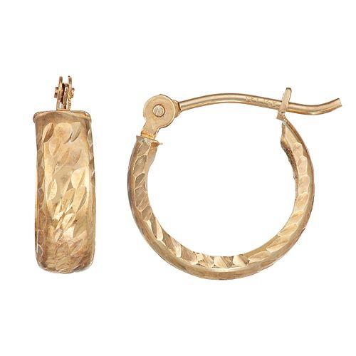 Charming Girl 14k Gold Textured Hoop Earrings