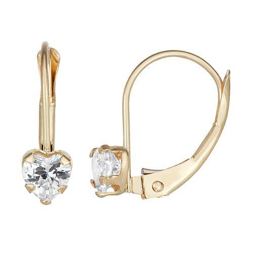Charming Girl 14k Gold Crystal Heart Earrings