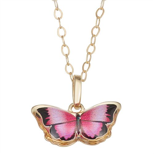 Charming Girl 14k Gold Butterfly Pendant Necklace