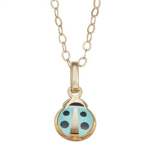 Charming Girl 14k Gold Ladybug Pendant Necklace
