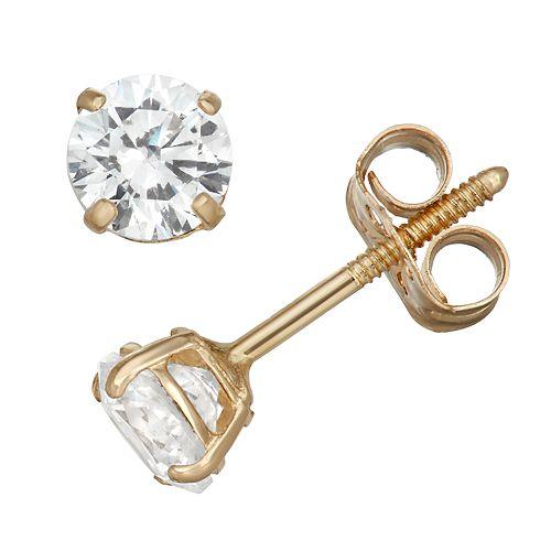 Charming Girl 14k Gold Crystal Stud Earrings